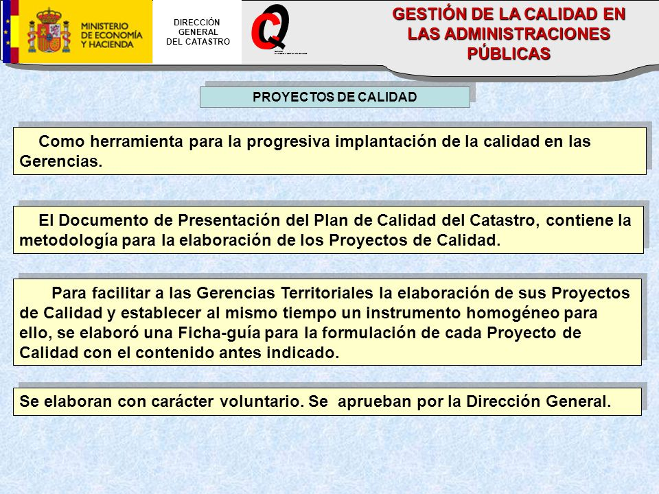 PROYECTOS DE CALIDAD Como herramienta para la progresiva implantación de la calidad en las Gerencias. El Documento de Presentación del Plan de Calidad