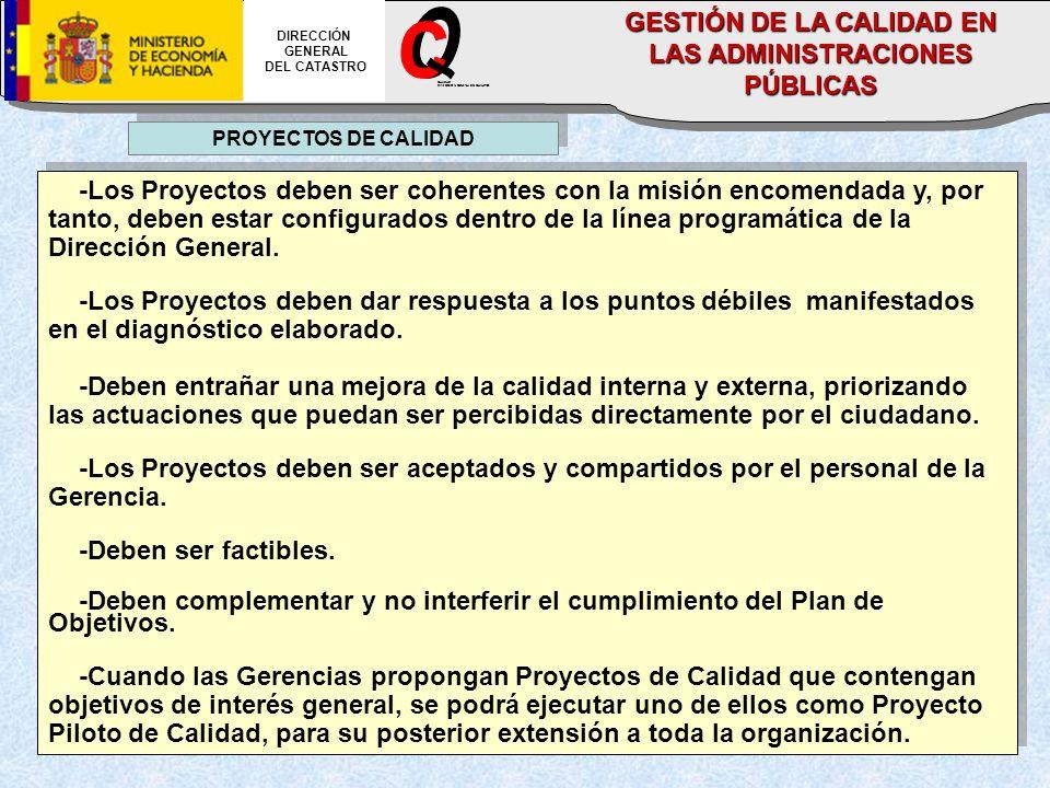 PROYECTOS DE CALIDAD -Los Proyectos deben ser coherentes con la misión encomendada y, por tanto, deben estar configurados dentro de la línea programática de la Dirección General.