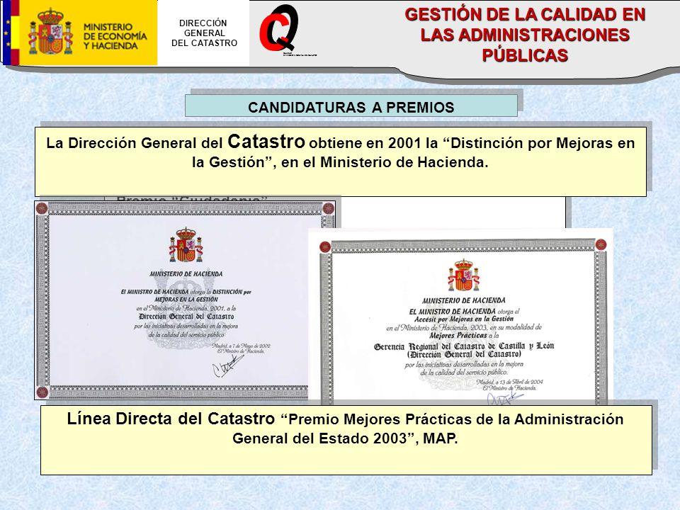 Candidaturas de la Gerencia Regional de Andalucía a: -Premio Ciudadanía. -Premio del M.A.P. 2002 -Distinción por Mejoras en la Gestión del M.H. 2002 C