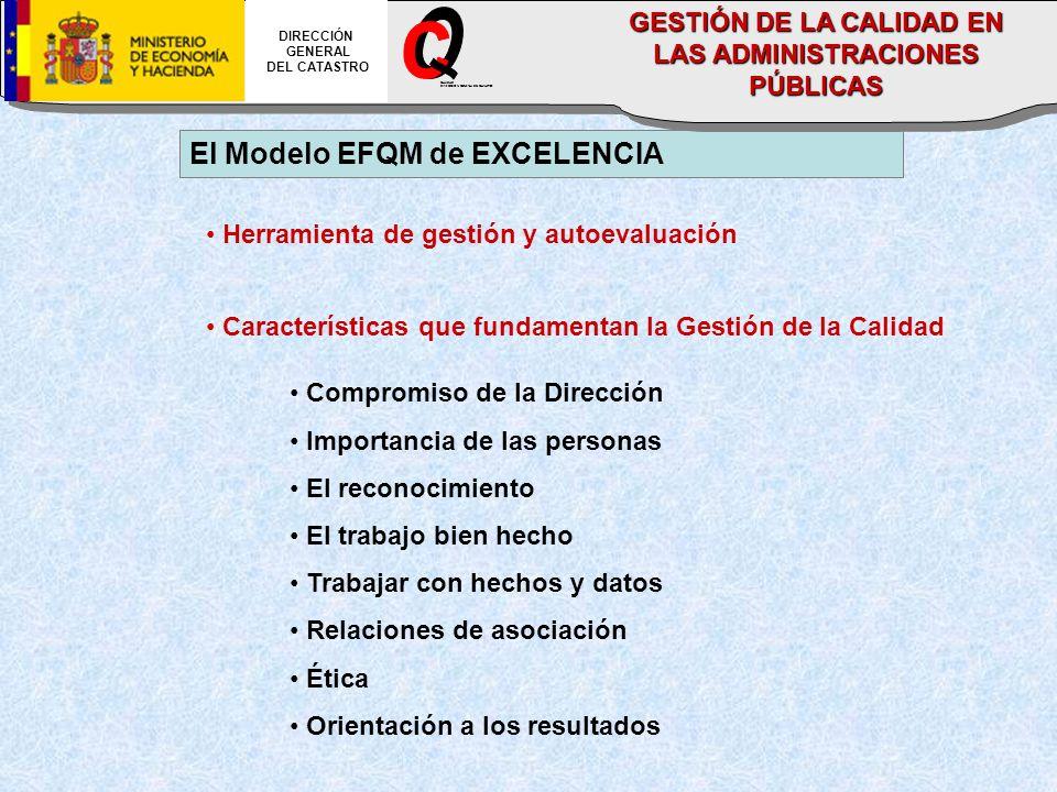 El Modelo EFQM de EXCELENCIA Herramienta de gestión y autoevaluación Características que fundamentan la Gestión de la Calidad Compromiso de la Direcci