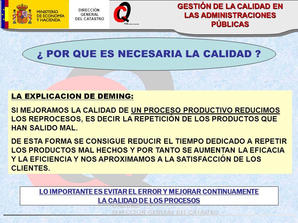 CALIDAD DIRECCION GENERAL DEL CATASTRO DIRECCIÓN GENERAL DEL CATASTRO GESTIÓN DE LA CALIDAD EN LAS ADMINISTRACIONES PÚBLICAS ¿ POR QUE ES NECESARIA LA CALIDAD .