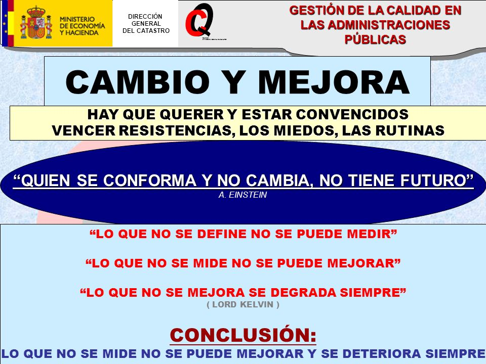 CALIDAD DIRECCION GENERAL DEL CATASTRO DIRECCIÓN GENERAL DEL CATASTRO GESTIÓN DE LA CALIDAD EN LAS ADMINISTRACIONES PÚBLICAS CAMBIO Y MEJORA HAY QUE QUERER Y ESTAR CONVENCIDOS VENCER RESISTENCIAS, LOS MIEDOS, LAS RUTINAS QUIEN SE CONFORMA Y NO CAMBIA, NO TIENE FUTURO A.