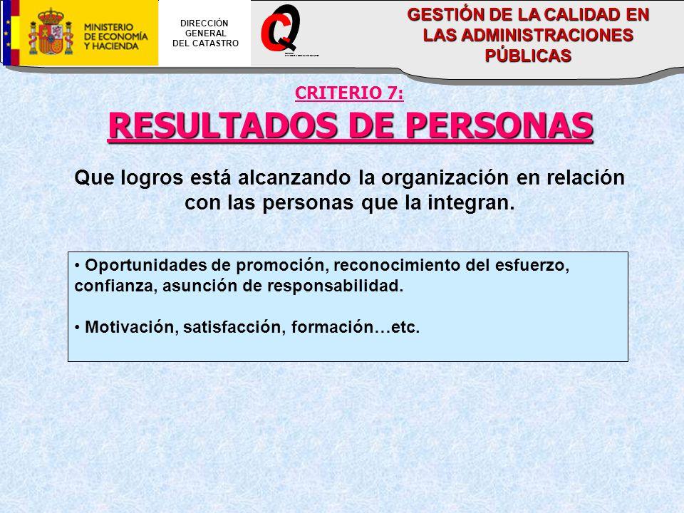 CRITERIO 7: RESULTADOS DE PERSONAS Que logros está alcanzando la organización en relación con las personas que la integran. Oportunidades de promoción