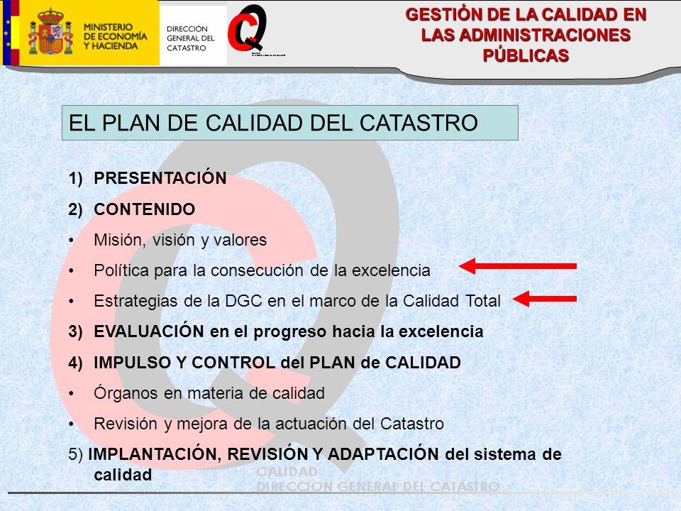 CALIDAD DIRECCION GENERAL DEL CATASTRO EL PLAN DE CALIDAD DEL CATASTRO 1)PRESENTACIÓN 2)CONTENIDO Misión, visión y valores Política para la consecución de la excelencia Estrategias de la DGC en el marco de la Calidad Total 3)EVALUACIÓN en el progreso hacia la excelencia 4)IMPULSO Y CONTROL del PLAN de CALIDAD Órganos en materia de calidad Revisión y mejora de la actuación del Catastro 5) IMPLANTACIÓN, REVISIÓN Y ADAPTACIÓN del sistema de calidad GESTIÓN DE LA CALIDAD EN LAS ADMINISTRACIONES PÚBLICAS