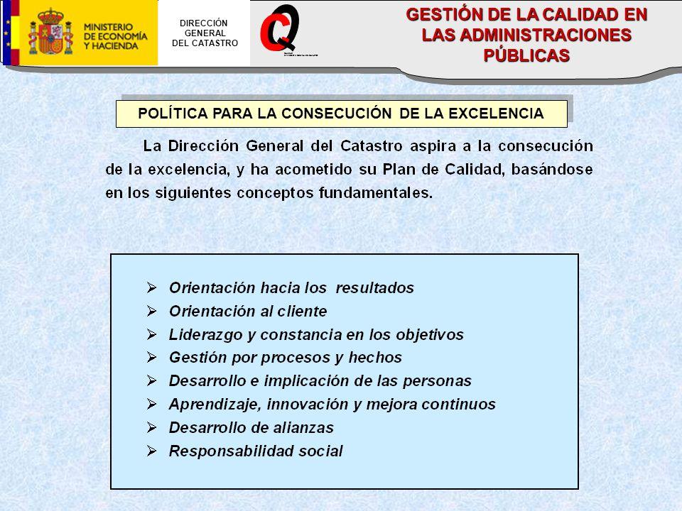 POLÍTICA PARA LA CONSECUCIÓN DE LA EXCELENCIA DIRECCIÓN GENERAL DEL CATASTRO CALIDAD DIRECCION GENERAL DEL CATASTRO GESTIÓN DE LA CALIDAD EN LAS ADMIN