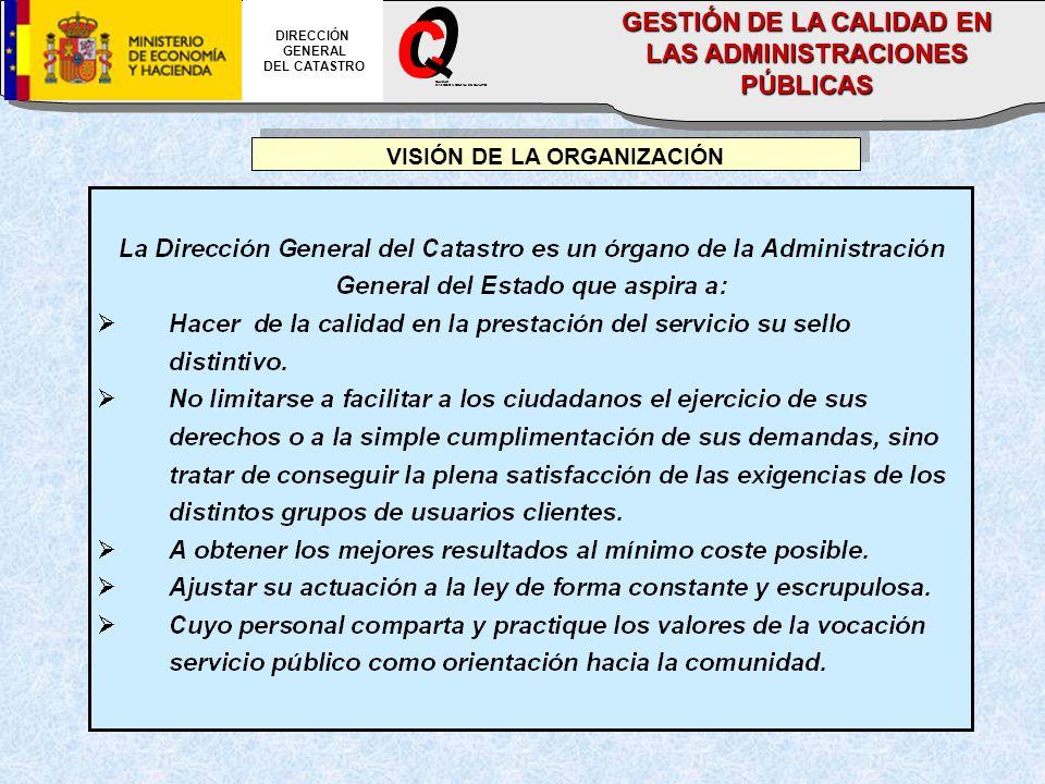 VISIÓN DE LA ORGANIZACIÓN DIRECCIÓN GENERAL DEL CATASTRO CALIDAD DIRECCION GENERAL DEL CATASTRO GESTIÓN DE LA CALIDAD EN LAS ADMINISTRACIONES PÚBLICAS