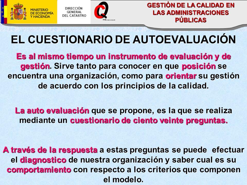 EL CUESTIONARIO DE AUTOEVALUACIÓN Es al mismo tiempo un instrumento de evaluación y de gestión.