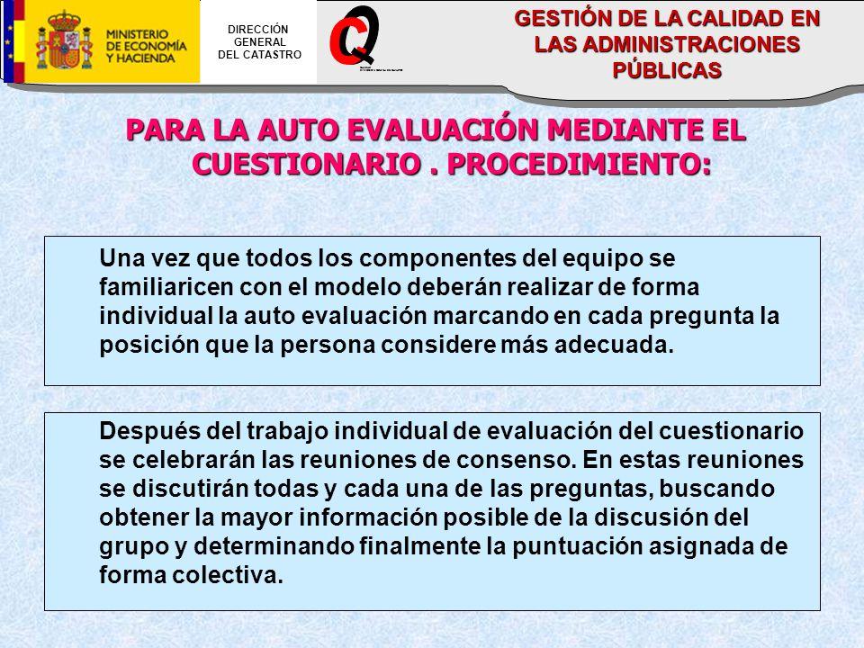 PARA LA AUTO EVALUACIÓN MEDIANTE EL CUESTIONARIO.