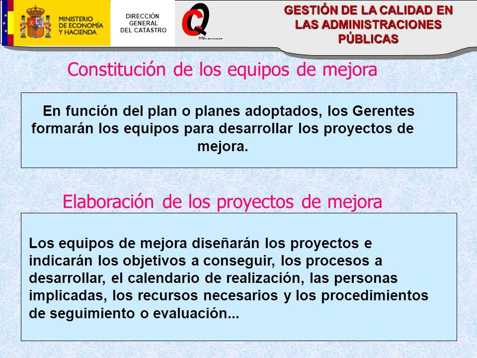 Constitución de los equipos de mejora En función del plan o planes adoptados, los Gerentes formarán los equipos para desarrollar los proyectos de mejo