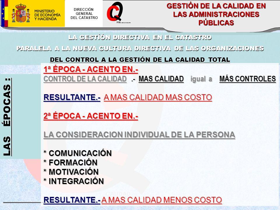 CALIDAD DIRECCION GENERAL DEL CATASTRO DIRECCIÓN GENERAL DEL CATASTRO GESTIÓN DE LA CALIDAD EN LAS ADMINISTRACIONES PÚBLICAS LA GESTÍÓN DIRECTIVA EN EL CATASTRO PARALELA A LA NUEVA CULTURA DIRECTIVA DE LAS ORGANIZACIONES DEL CONTROL A LA GESTIÓN DE LA CALIDAD TOTAL LAS ÉPOCAS : 1ª ÉPOCA - ACENTO EN.- CONTROL DE LA CALIDAD.- MAS CALIDAD igual a MÁS CONTROLES RESULTANTE.-A MAS CALIDAD MAS COSTO RESULTANTE.- A MAS CALIDAD MAS COSTO 2ª ÉPOCA - ACENTO EN.- LA CONSIDERACION INDIVIDUAL DE LA PERSONA * COMUNICACIÓN * FORMACIÓN * MOTIVACIÓN * INTEGRACIÓN RESULTANTE.-A MAS CALIDAD MENOS COSTO RESULTANTE.- A MAS CALIDAD MENOS COSTO
