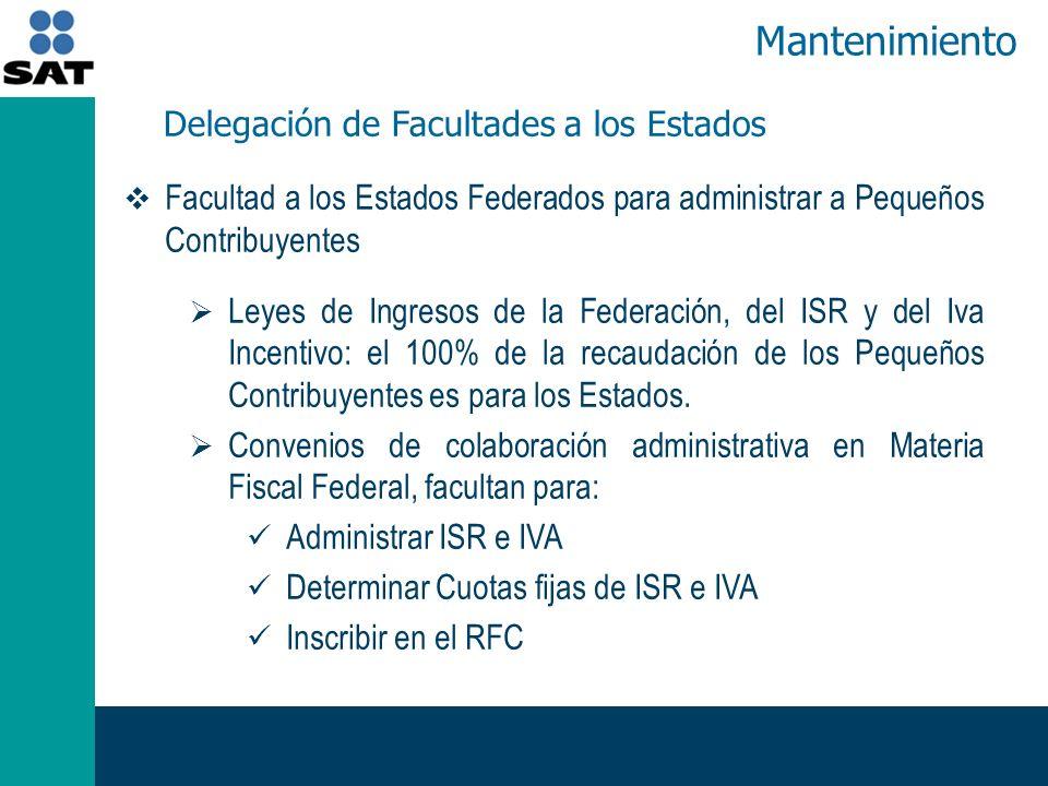 Facultad a los Estados Federados para administrar a Pequeños Contribuyentes Leyes de Ingresos de la Federación, del ISR y del Iva Incentivo: el 100% de la recaudación de los Pequeños Contribuyentes es para los Estados.
