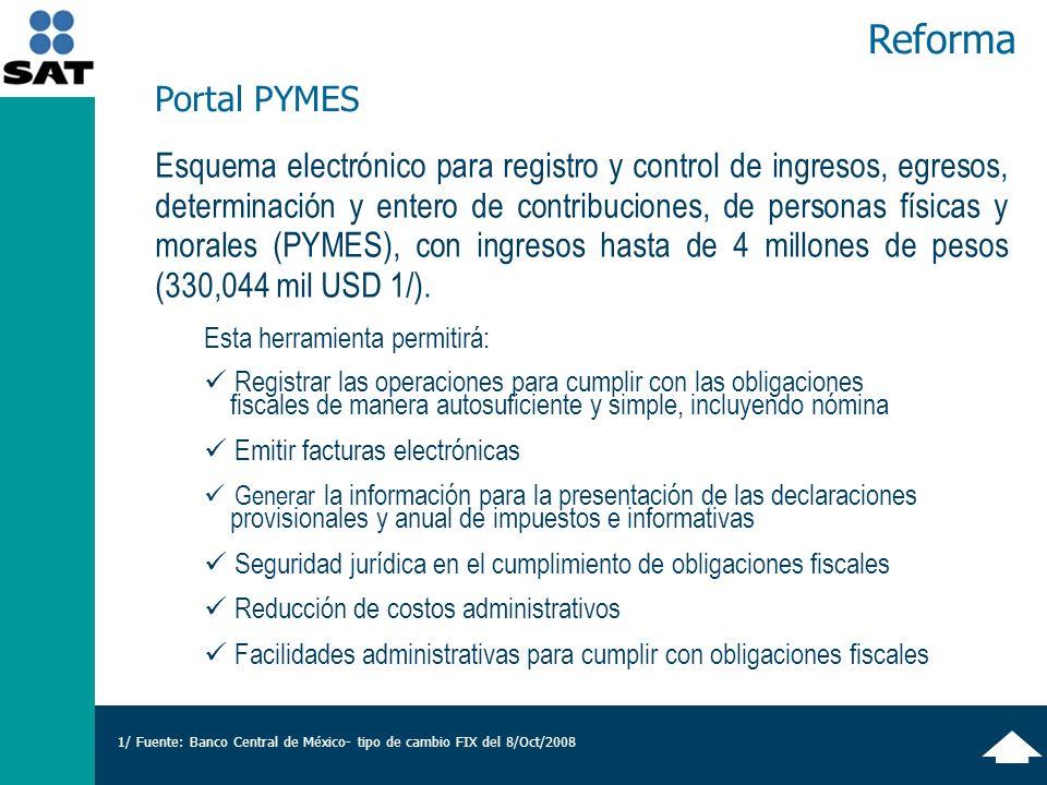 Reforma Esquema electrónico para registro y control de ingresos, egresos, determinación y entero de contribuciones, de personas físicas y morales (PYMES), con ingresos hasta de 4 millones de pesos (330,044 mil USD 1/).