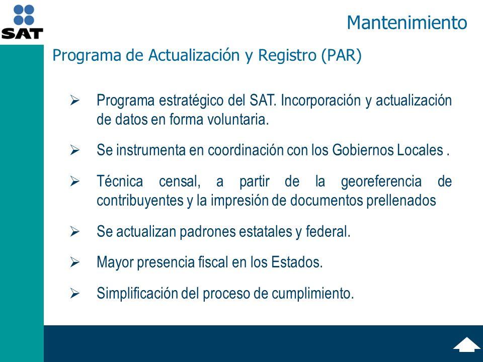 Programa de Actualización y Registro (PAR) Programa estratégico del SAT.