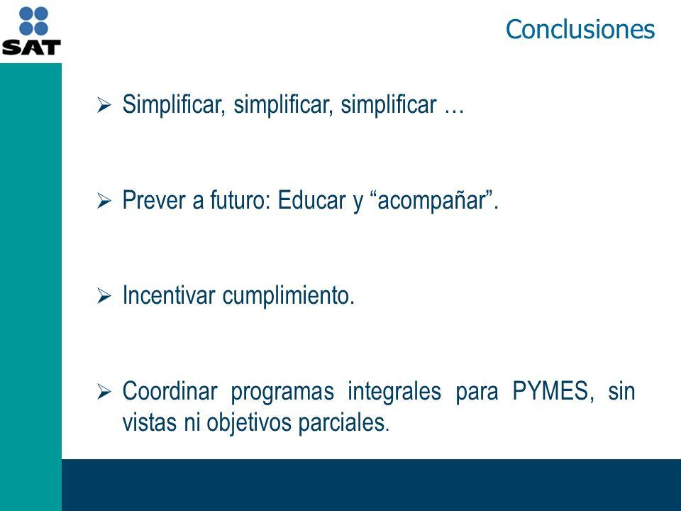 Conclusiones Simplificar, simplificar, simplificar … Prever a futuro: Educar y acompañar.