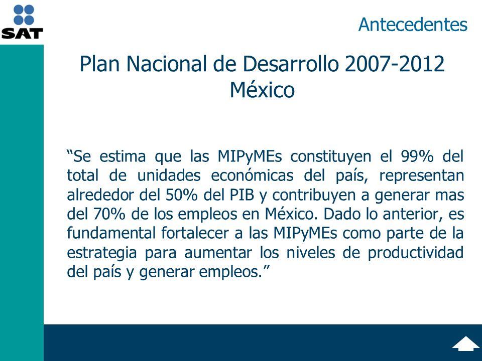 Antecedentes Se estima que las MIPyMEs constituyen el 99% del total de unidades económicas del país, representan alrededor del 50% del PIB y contribuyen a generar mas del 70% de los empleos en México.
