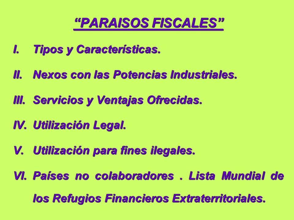 I - TIPOS Y CARACTERISTICAS 1.Refugio Fiscal.2.Refugio Financiero.