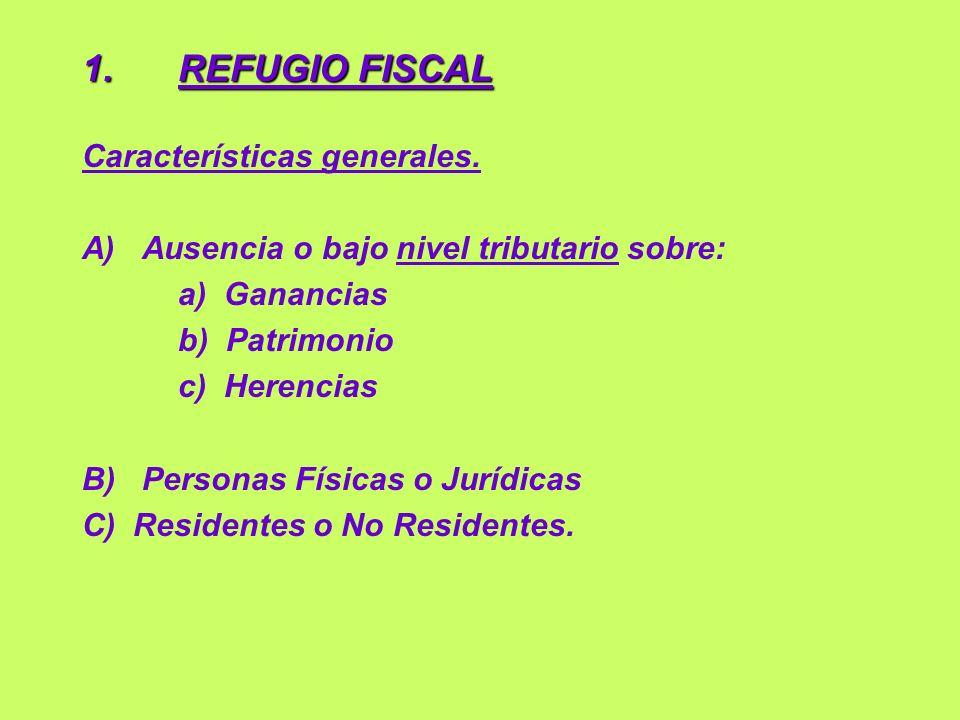 1.REFUGIO FISCAL (cont.) Características particulares.