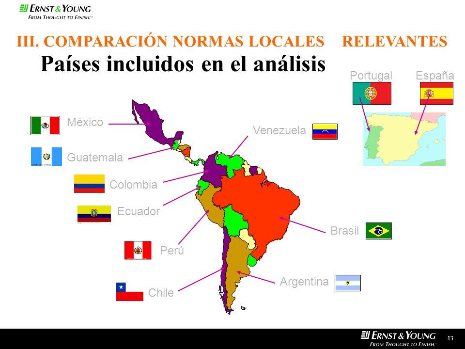 Países incluidos en el análisis México Guatemala Colombia Ecuador Perú Venezuela Brasil Chile Argentina 13 III. COMPARACIÓN NORMAS LOCALES RELEVANTES
