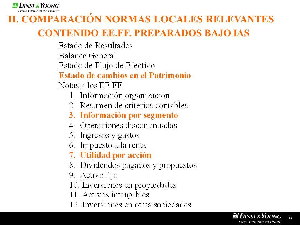 14 CONTENIDO EE.FF. PREPARADOS BAJO IAS II. COMPARACIÓN NORMAS LOCALES RELEVANTES