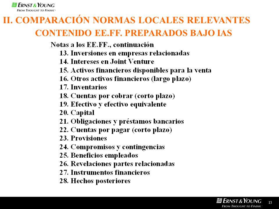 15 II. COMPARACIÓN NORMAS LOCALES RELEVANTES CONTENIDO EE.FF. PREPARADOS BAJO IAS