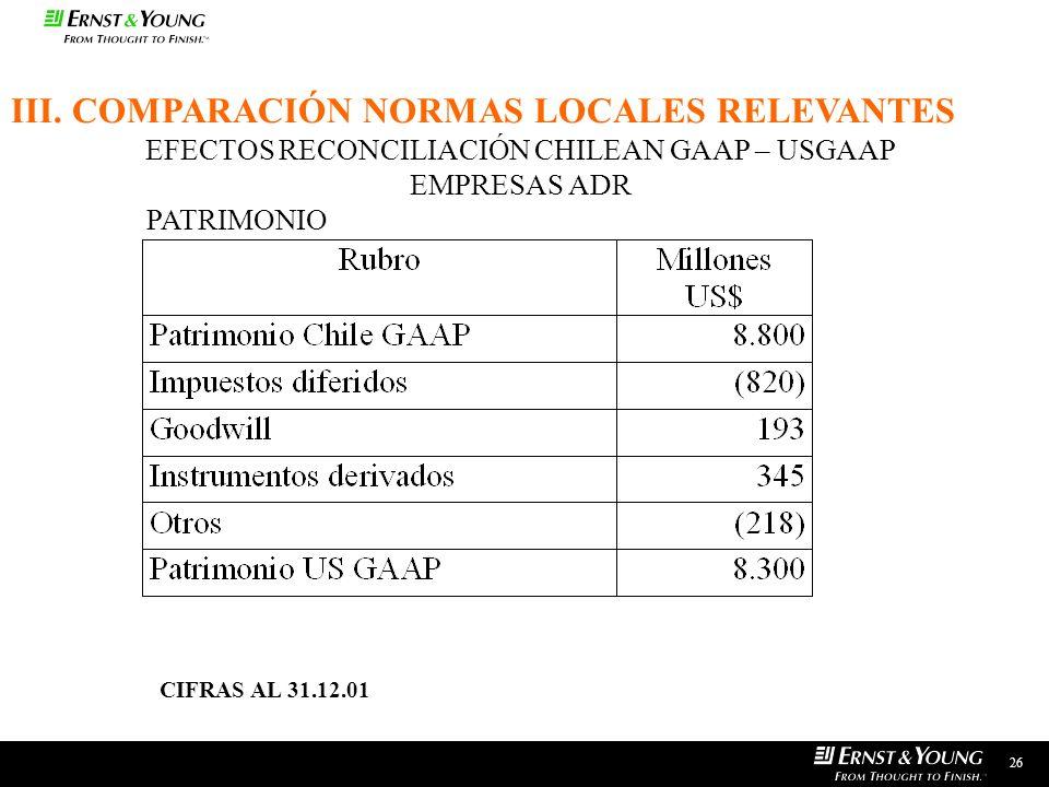 26 EFECTOS RECONCILIACIÓN CHILEAN GAAP – USGAAP EMPRESAS ADR PATRIMONIO III. COMPARACIÓN NORMAS LOCALES RELEVANTES CIFRAS AL 31.12.01