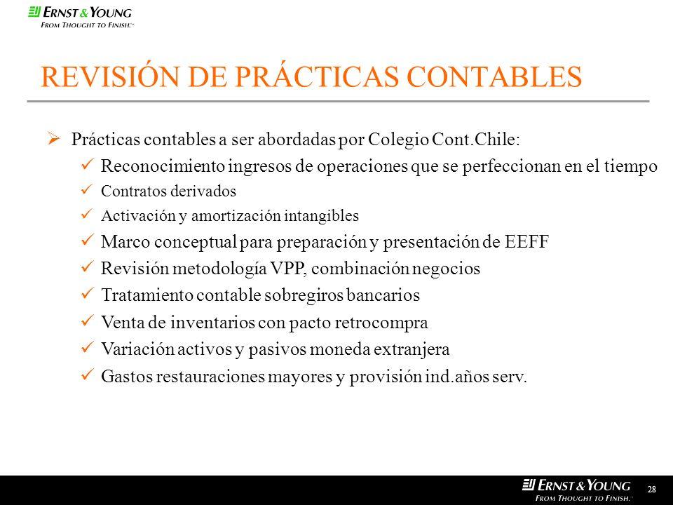 28 REVISIÓN DE PRÁCTICAS CONTABLES Prácticas contables a ser abordadas por Colegio Cont.Chile: Reconocimiento ingresos de operaciones que se perfeccio