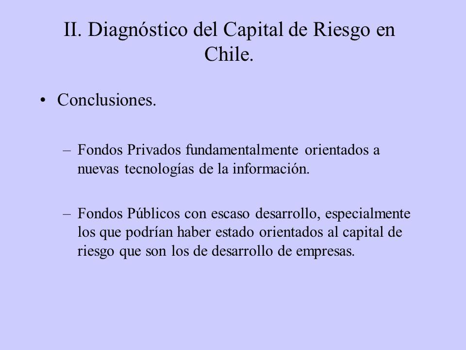 II. Diagnóstico del Capital de Riesgo en Chile. Conclusiones. –Fondos Privados fundamentalmente orientados a nuevas tecnologías de la información. –Fo