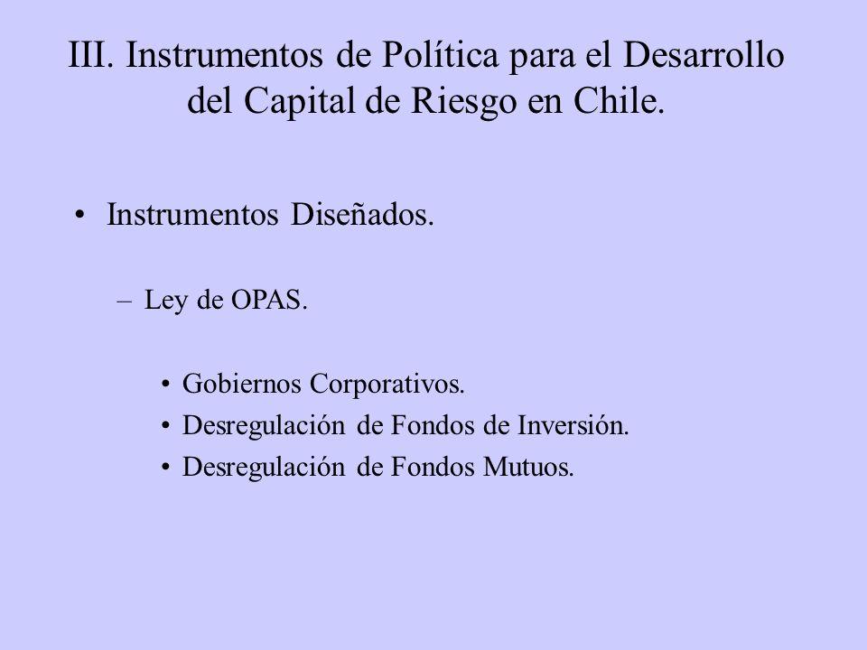 III. Instrumentos de Política para el Desarrollo del Capital de Riesgo en Chile. Instrumentos Diseñados. –Ley de OPAS. Gobiernos Corporativos. Desregu