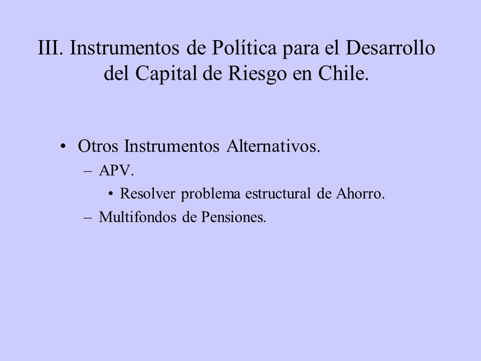 Otros Instrumentos Alternativos. –APV. Resolver problema estructural de Ahorro. –Multifondos de Pensiones. III. Instrumentos de Política para el Desar
