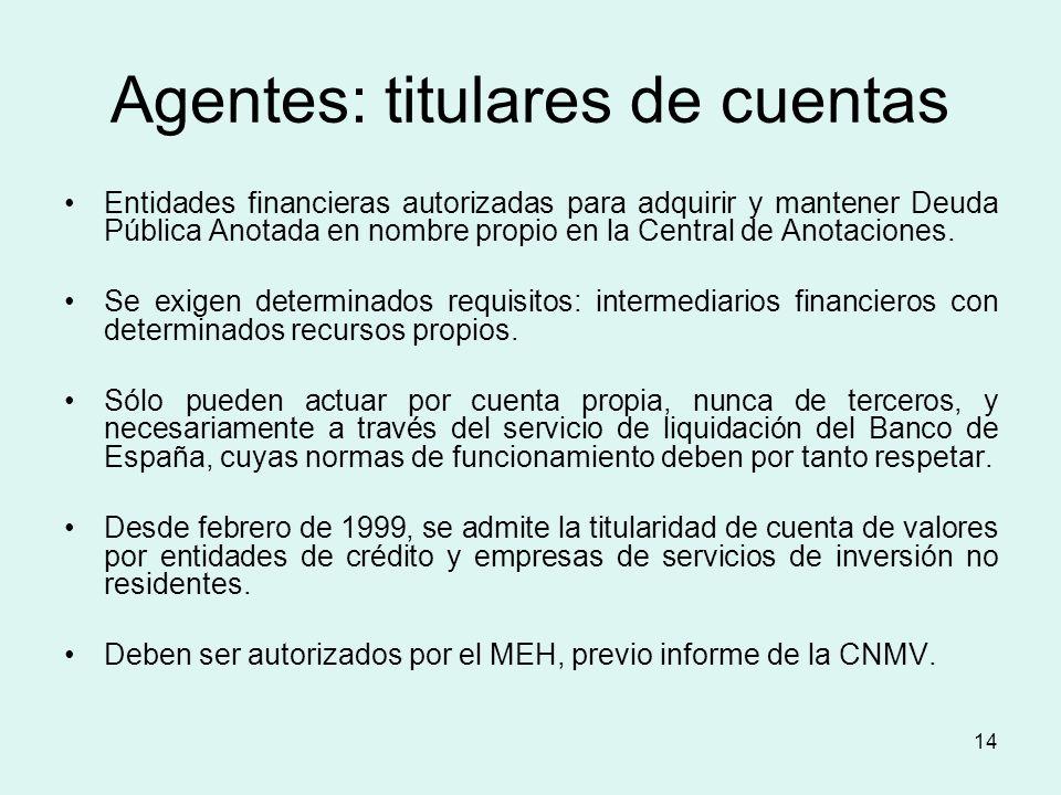 14 Agentes: titulares de cuentas Entidades financieras autorizadas para adquirir y mantener Deuda Pública Anotada en nombre propio en la Central de An