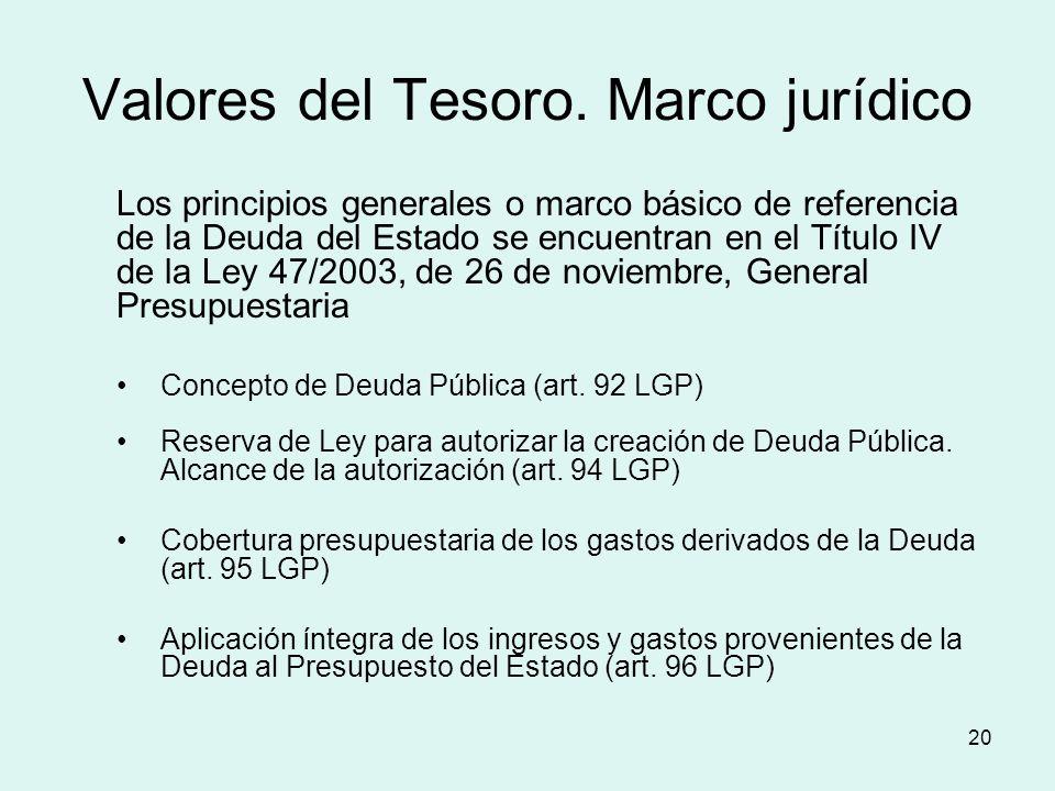 20 Valores del Tesoro. Marco jurídico Los principios generales o marco básico de referencia de la Deuda del Estado se encuentran en el Título IV de la