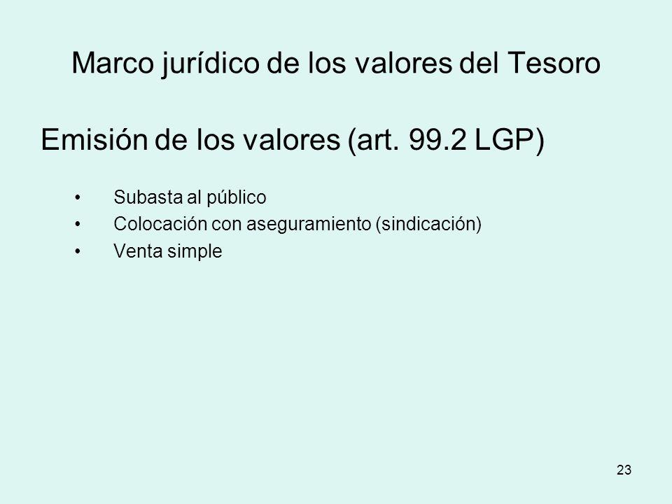 23 Marco jurídico de los valores del Tesoro Emisión de los valores (art. 99.2 LGP) Subasta al público Colocación con aseguramiento (sindicación) Venta