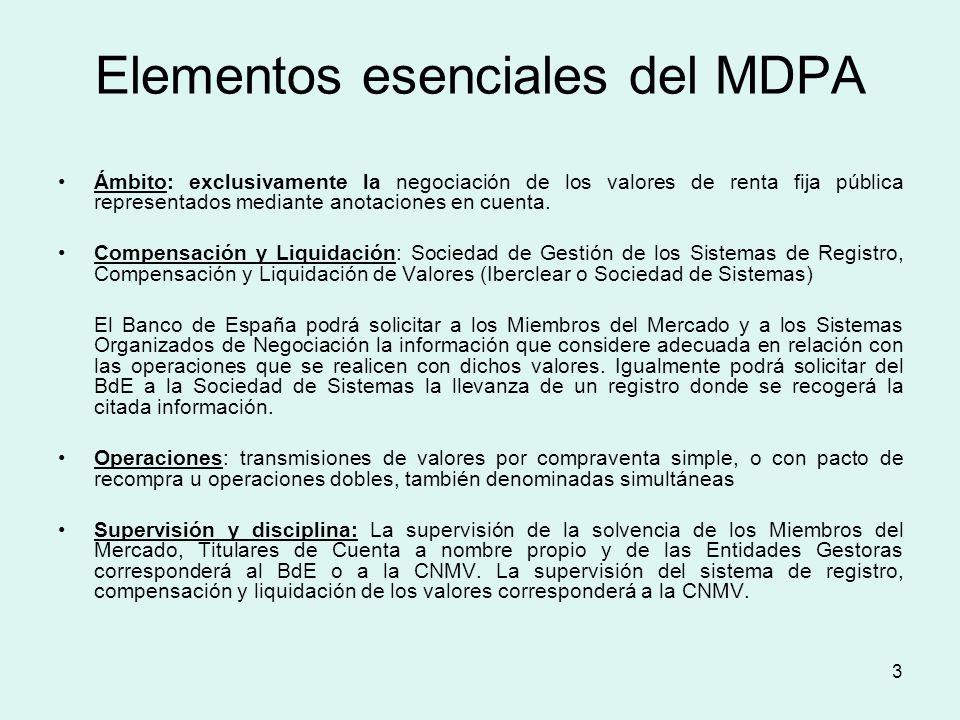 3 Elementos esenciales del MDPA Ámbito: exclusivamente la negociación de los valores de renta fija pública representados mediante anotaciones en cuent