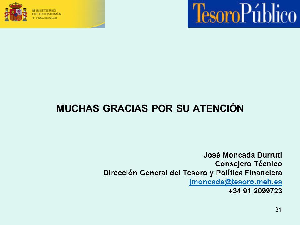 31 MUCHAS GRACIAS POR SU ATENCIÓN José Moncada Durruti Consejero Técnico Dirección General del Tesoro y Política Financiera jmoncada@tesoro.meh.es +34