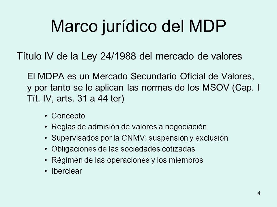 4 Marco jurídico del MDP Título IV de la Ley 24/1988 del mercado de valores El MDPA es un Mercado Secundario Oficial de Valores, y por tanto se le apl