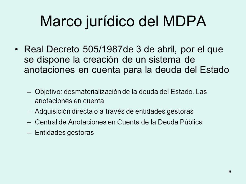 6 Marco jurídico del MDPA Real Decreto 505/1987de 3 de abril, por el que se dispone la creación de un sistema de anotaciones en cuenta para la deuda d