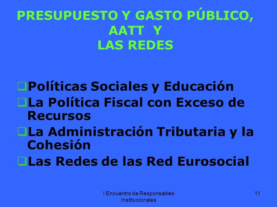 I Encuentro de Responsables Institucionales 11 PRESUPUESTO Y GASTO PÚBLICO, AATT Y LAS REDES Políticas Sociales y Educación La Política Fiscal con Exceso de Recursos La Administración Tributaria y la Cohesión Las Redes de las Red Eurosocial