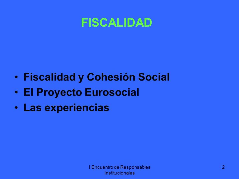 I Encuentro de Responsables Institucionales 2 FISCALIDAD Fiscalidad y Cohesión Social El Proyecto Eurosocial Las experiencias