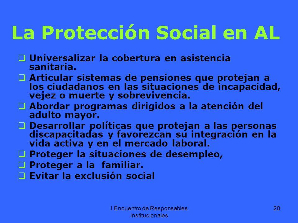 I Encuentro de Responsables Institucionales 20 La Protección Social en AL Universalizar la cobertura en asistencia sanitaria.