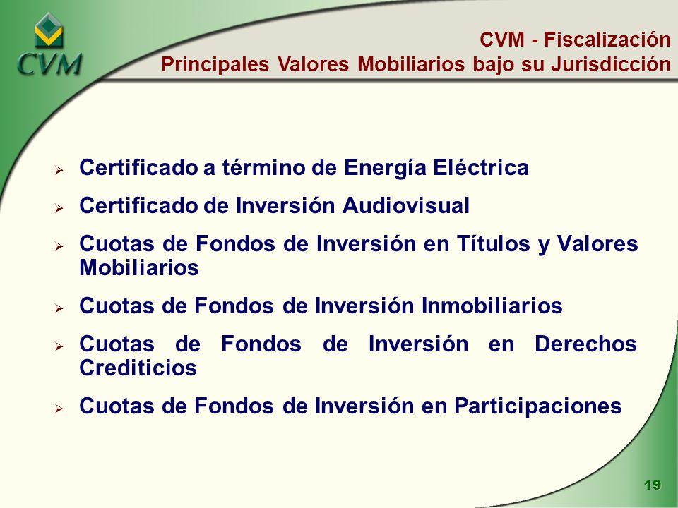 19 Certificado a término de Energía Eléctrica Certificado de Inversión Audiovisual Cuotas de Fondos de Inversión en Títulos y Valores Mobiliarios Cuotas de Fondos de Inversión Inmobiliarios Cuotas de Fondos de Inversión en Derechos Crediticios Cuotas de Fondos de Inversión en Participaciones CVM - Fiscalización Principales Valores Mobiliarios bajo su Jurisdicción