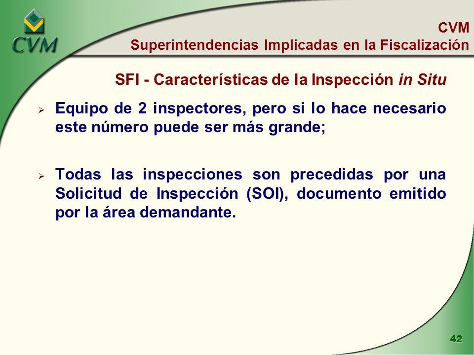 42 CVM Superintendencias Implicadas en la Fiscalización SFI - Características de la Inspección in Situ Equipo de 2 inspectores, pero si lo hace necesario este número puede ser más grande; Todas las inspecciones son precedidas por una Solicitud de Inspección (SOI), documento emitido por la área demandante.