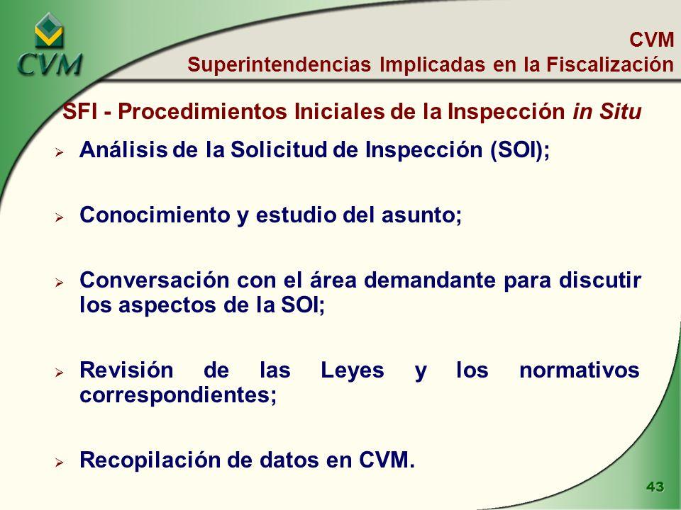 43 SFI - Procedimientos Iniciales de la Inspección in Situ Análisis de la Solicitud de Inspección (SOI); Conocimiento y estudio del asunto; Conversación con el área demandante para discutir los aspectos de la SOI; Revisión de las Leyes y los normativos correspondientes; Recopilación de datos en CVM.