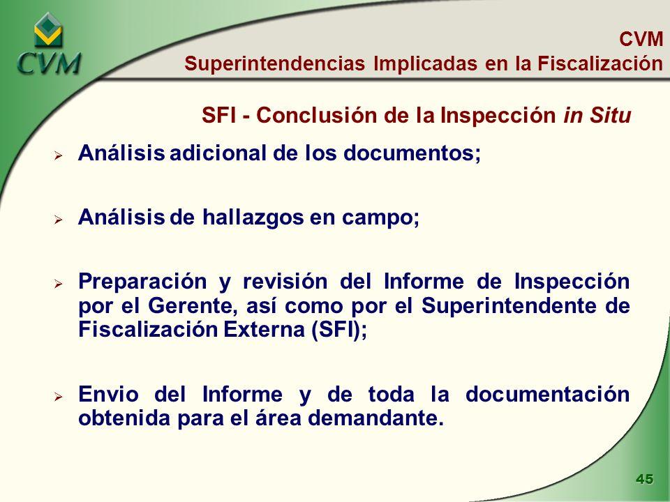 45 SFI - Conclusión de la Inspección in Situ Análisis adicional de los documentos; Análisis de hallazgos en campo; Preparación y revisión del Informe de Inspección por el Gerente, así como por el Superintendente de Fiscalización Externa (SFI); Envio del Informe y de toda la documentación obtenida para el área demandante.
