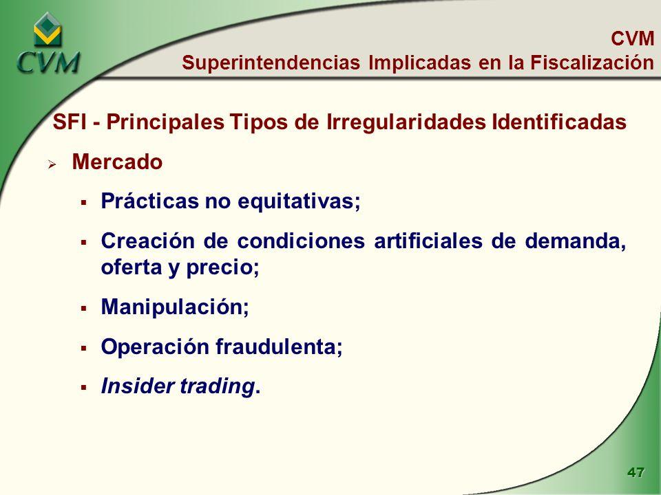 47 SFI - Principales Tipos de Irregularidades Identificadas Mercado Prácticas no equitativas; Creación de condiciones artificiales de demanda, oferta y precio; Manipulación; Operación fraudulenta; Insider trading.