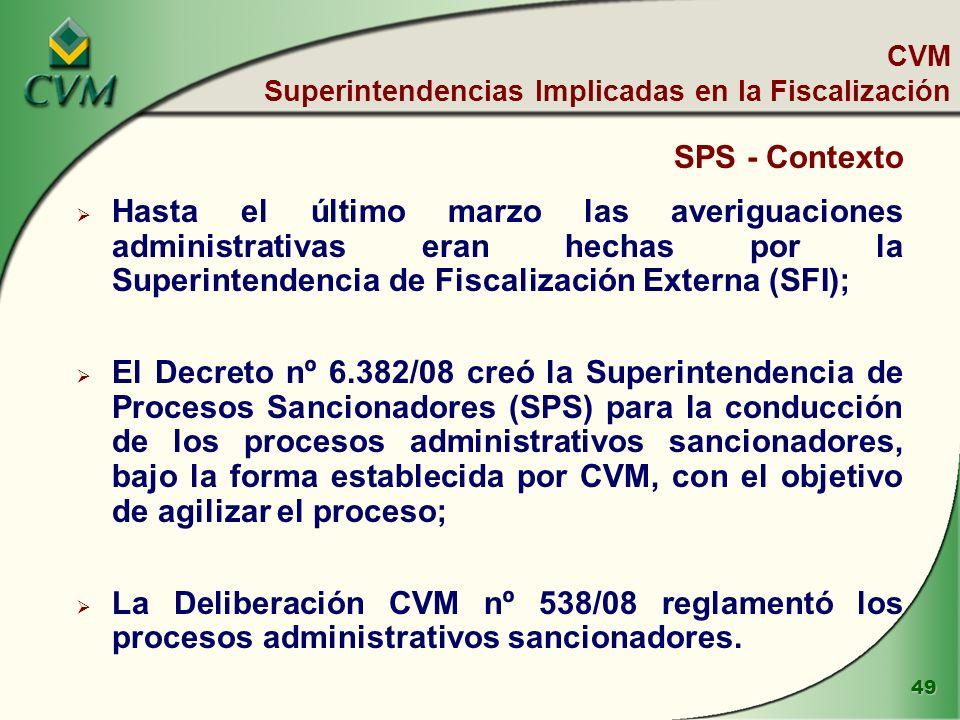 49 SPS - Contexto Hasta el último marzo las averiguaciones administrativas eran hechas por la Superintendencia de Fiscalización Externa (SFI); El Decreto nº 6.382/08 creó la Superintendencia de Procesos Sancionadores (SPS) para la conducción de los procesos administrativos sancionadores, bajo la forma establecida por CVM, con el objetivo de agilizar el proceso; La Deliberación CVM nº 538/08 reglamentó los procesos administrativos sancionadores.