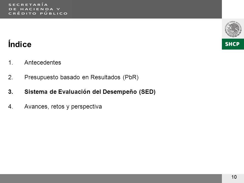 10 Índice 1.Antecedentes 2.Presupuesto basado en Resultados (PbR) 3.Sistema de Evaluación del Desempeño (SED) 4.Avances, retos y perspectiva