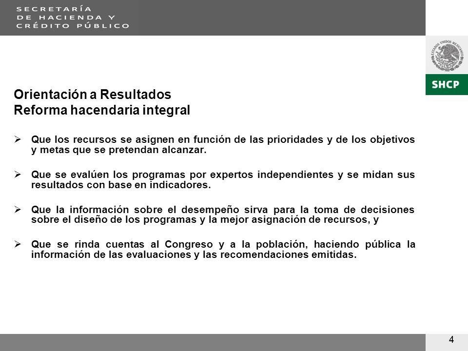 44 Orientación a Resultados Reforma hacendaria integral Que los recursos se asignen en función de las prioridades y de los objetivos y metas que se pretendan alcanzar.