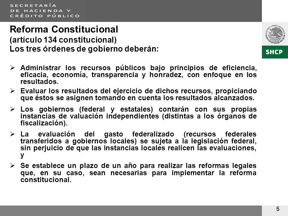 55 Reforma Constitucional (artículo 134 constitucional) Los tres órdenes de gobierno deberán: Administrar los recursos públicos bajo principios de eficiencia, eficacia, economía, transparencia y honradez, con enfoque en los resultados.
