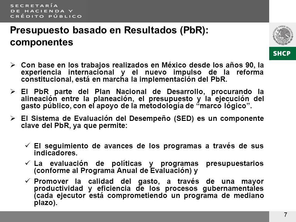 77 Presupuesto basado en Resultados (PbR): componentes Con base en los trabajos realizados en México desde los años 90, la experiencia internacional y el nuevo impulso de la reforma constitucional, está en marcha la implementación del PbR.