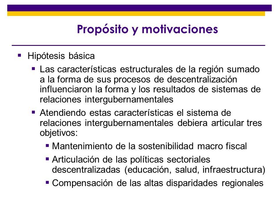 Propósito y motivaciones Las características de la política macro fiscal han limitado la capacidad de los gobiernos (central y SN) para articular estos tres objetivos.